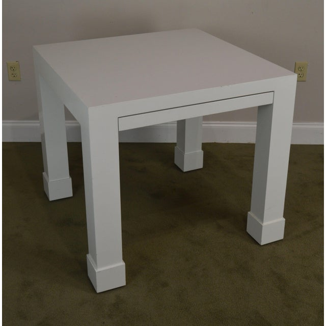High quality white painted square table with a drawer.