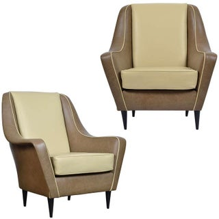 Italian Modernist Leather Armchairs - A Pair