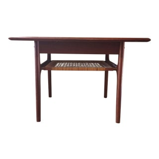Danish Modern Trioh Møbler End Table - Teak Frame and Rattan Shelf For Sale