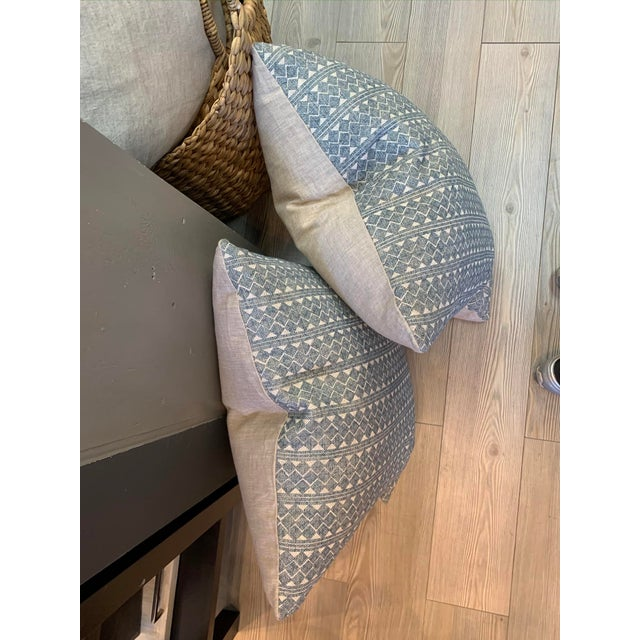 Blue & Cream Diamond Pattern Linen Pillows- a Pair For Sale In Los Angeles - Image 6 of 8
