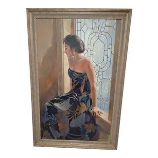 """""""Beautiful Lady Contemplating"""" Painting by Anne Burgess Rowe For Sale"""