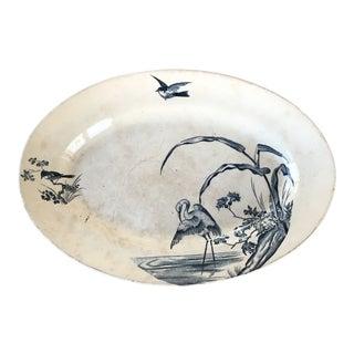 Antique Transferware Ceramic Platter With Birds For Sale