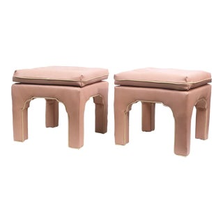 1970s Vintage Hollywood Regency Billy Baldwin Pink Upholstered Ottoman Set- A Pair For Sale
