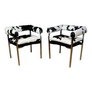 American Modern 1960s Chrome & Hide Rollback Armchair For Sale