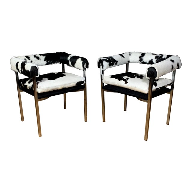 American Modern 1960s Chrome & Hide Rollback Armchair For Sale