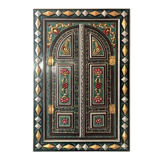 1980s Hand Painted Green Moroccan Mirror with Doors For Sale