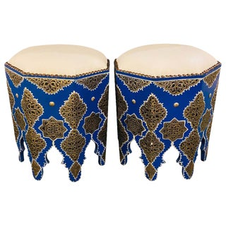 Handmade Moroccan White Brass Filligree on Wood in Blue Ottomans- A Pair For Sale