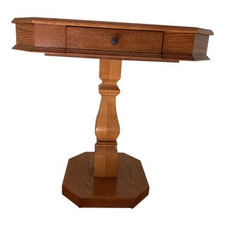 Solid Wood Pedestal Leg Chess Table by Powell For Sale