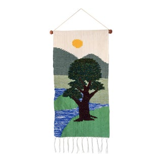 Mid-Century Nature Scene Tapestry Wallhanging For Sale