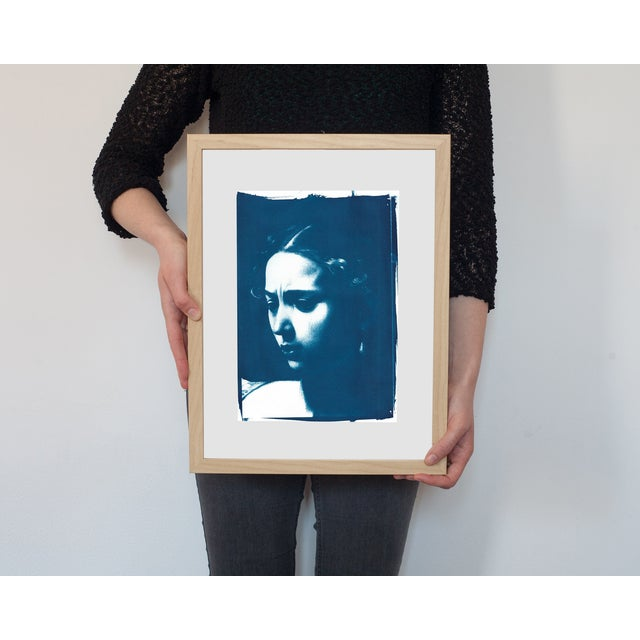 """This is an image that is a detail from Caravaggio's """"Judith Beheading Holofernes"""". It is an original cyanotype print, made..."""