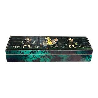 Faux Malachite Leather Decorative Indian Maharaja Box For Sale