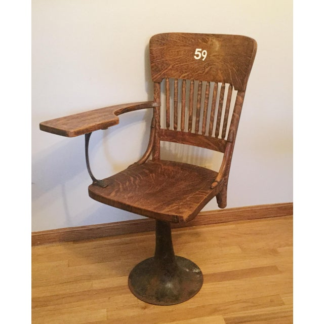 Modern Antique Quarter Sawn Oak University Lecture Hall Chair - Metal Pedestal For Sale - Image 3 of 7