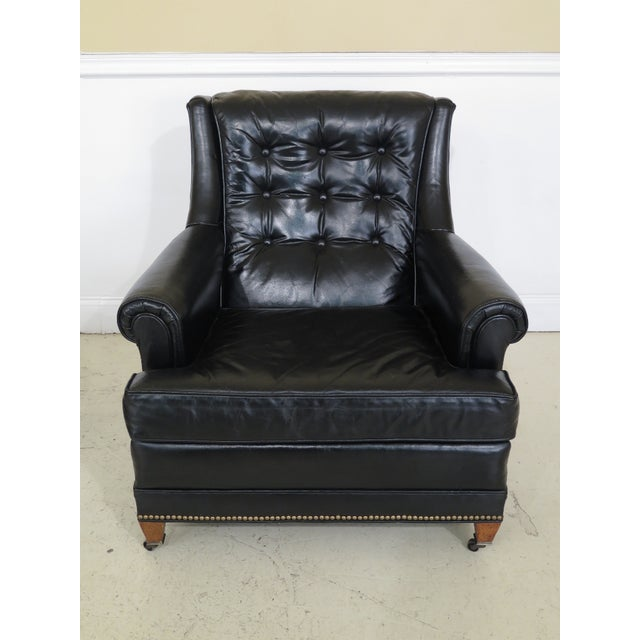 Traditional Sherrill Black Leather Club Chair & Ottoman For Sale - Image 3 of 13