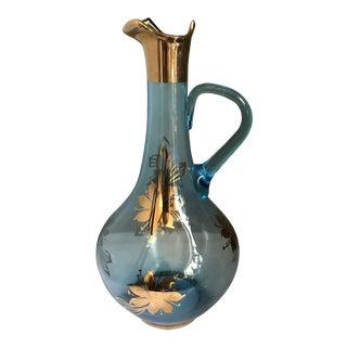 Vintage 1970s Romania Cristiro Hand Blown Aqua Blue Glass Decanter For Sale