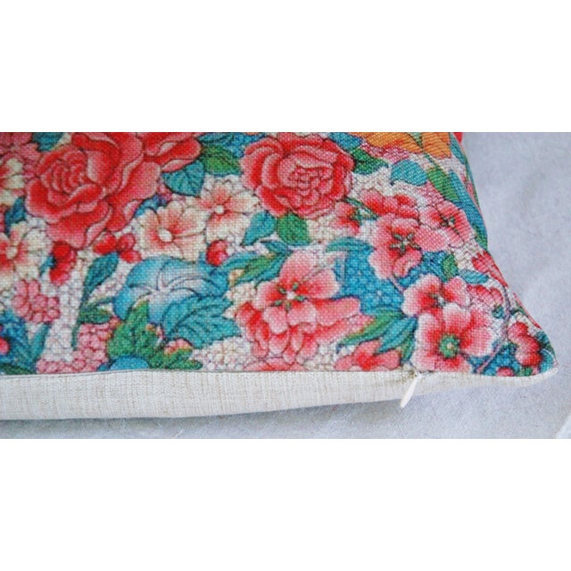 "Early 21st Century Spring Bouquet Linen Feather/Down Accent Pillow 17"" Square For Sale - Image 5 of 5"