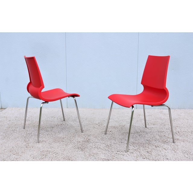 Italian Modern Marco Maran for Maxdesign Red Ricciolina Dining Chairs - Set of 6 For Sale - Image 9 of 13