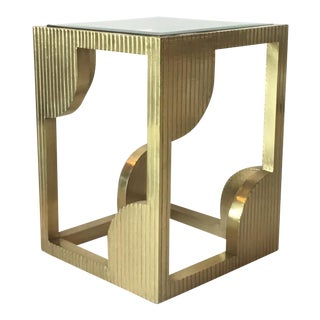 Currey & Co. Modern Brass Foil and Glass Morneao Side Table For Sale
