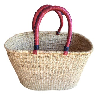 African Natural Woven Market Basket For Sale