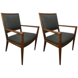 T. H. Robsjohn-Gibbings Walnut Armchairs - a Pair For Sale