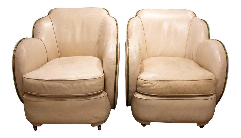 Vintage English Art Deco Cloud Chairs, England 1930u0027s