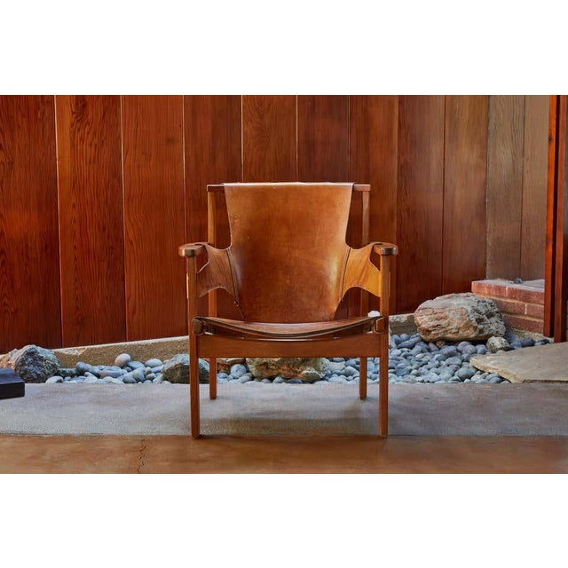 "Wood 1950s Carl Axel Acking ""Trienna"" Chair in Patinated Brown Leather For Sale - Image 7 of 13"