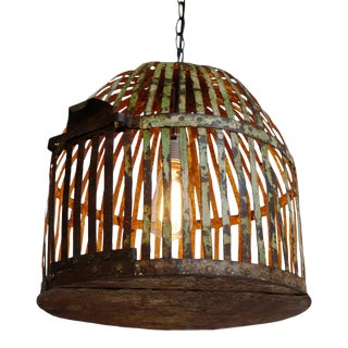 Industrial Iron Cage Lantern For Sale