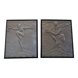 Dancing Goddess & Zeus W/Lightening Bolt Symbol Art Deco Machine Age Canvas Prints - A Pair For Sale