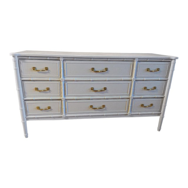 1970s Chinoiserie Henry Link Faux Bamboo High Gloss White Nine Drawer Dresser For Sale