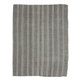 White Striped Gray Large Kilim Rug For Sale