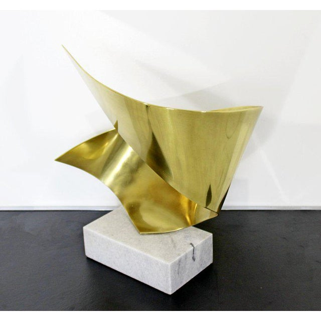 Bronze Mid-Century Modern Bronze Ribbon Marble Table Sculpture Signed James Nani 1978 For Sale - Image 7 of 13