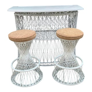 Russell Woodard Woven Fiberglass Bar and Two Stools For Sale