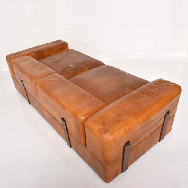 1960s Mid Century Modern Italian Leather Sofa Bed For Sale - Image 5 of 11