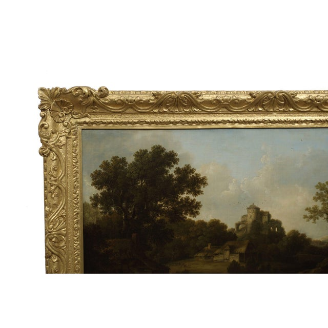 """George Smith """"Landscape W/ Castle Ruins"""" Antique English Painting by George Smith of Chichester For Sale - Image 4 of 13"""