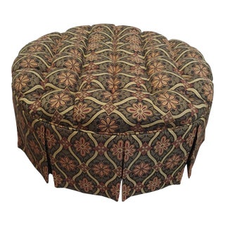 1990s Vintage Round Tufted Ottoman For Sale