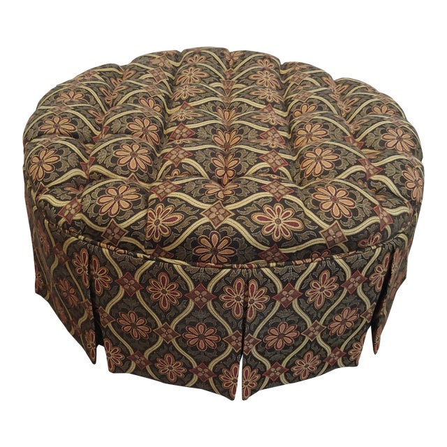 Admirable 1990S Vintage Round Tufted Ottoman Caraccident5 Cool Chair Designs And Ideas Caraccident5Info