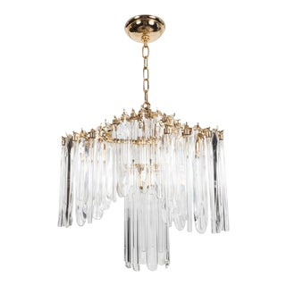 Mid-Century Draped Design Chandelier by Lobmeyr, 24-Karat Gold-Plated Fittings For Sale