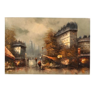 """Contemporary Oil Painting """"European City Street"""" For Sale"""