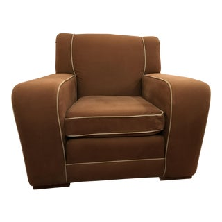 Green Piped Sueded Brown Twill Club Chair