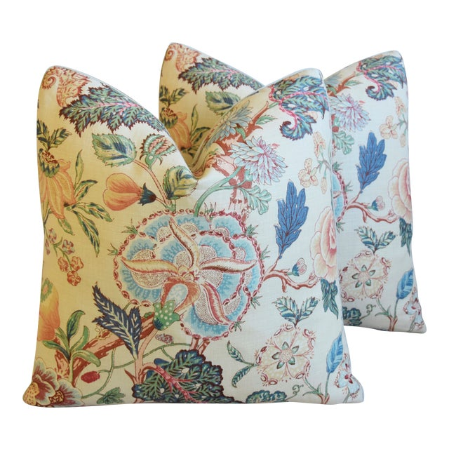 """Travers Tree-Of-Life Linen Feather/Down Pillows 22"""" Square - Pair For Sale"""