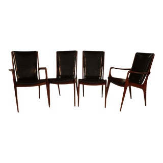 Mid Century Vladimir Kagan Sculpted Sling Dining Chairs Model Vk 101 and Vk 101a For Sale