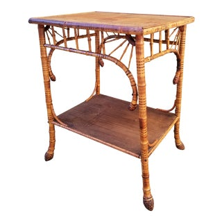 Antique Victorian Bamboo Side Table