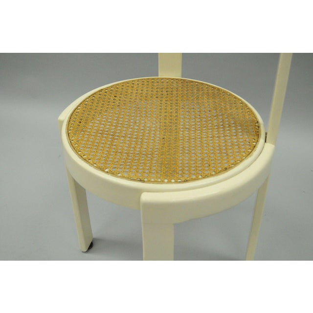 Vintage Thonet Style Italian Mid-Century Modern Round White Cane Seat Side Chair - Image 4 of 10