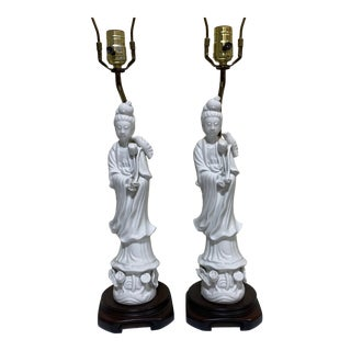 Seyei Fine China Quan Yin Lamps - a Pair For Sale