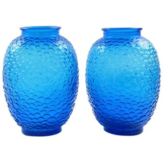 Pair of Blue Molded Glass Vase by Pierre D'Avesn for Cristallerie Choisy-le-Roi For Sale