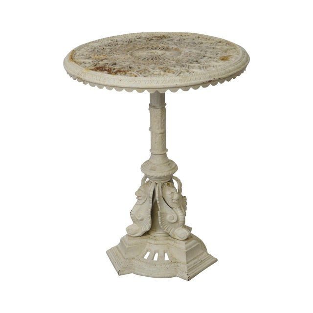 Outdoor Victorian Table: Antique Victorian Cast Iron Round Garden Table