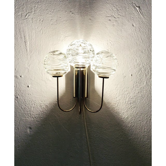 Doria Leuchten Germany Set of 2 Mid-Century Modern Brass and Ice Glass Wall Sconces by Doria For Sale - Image 4 of 8
