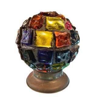 Antique Colored Shard Glass Ball Lamp For Sale