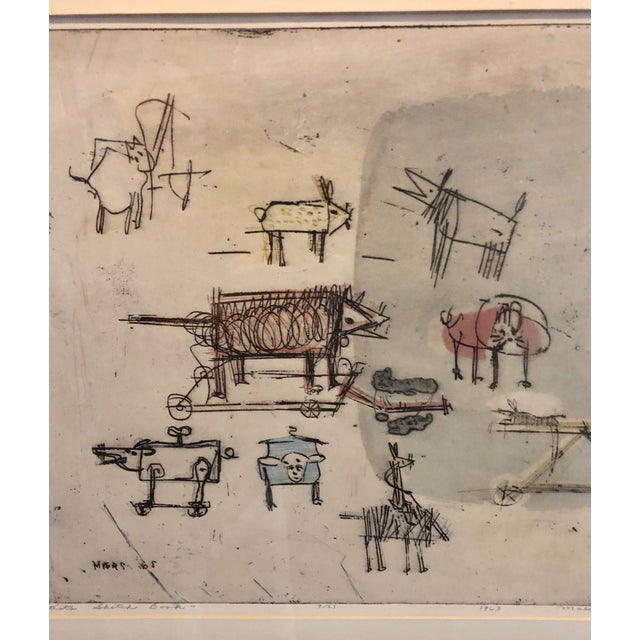 """1963 """"Artists Sketch Book"""" 7/25 Original Itaglio by Malcolm H. Myers, Framed For Sale - Image 10 of 13"""