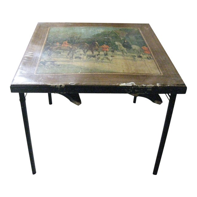 Vintage Card Table With Equestrian Hunt Scene For Sale