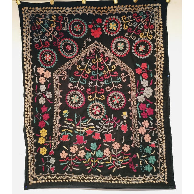 "Folk Art Late 1800s Hand-Stitched Suzani- 3' X 5' 3"" For Sale - Image 3 of 13"